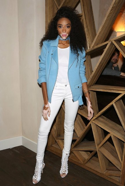 Fashionista Winnie Harlow attends the launch of The Great Eight Guacamoles, London's first Guacamoles and Tequila Bar, at Cantina Laredo on October 11, 2017 in London, England. (Photo by David M. Benett/Dave Benett/Getty Images)