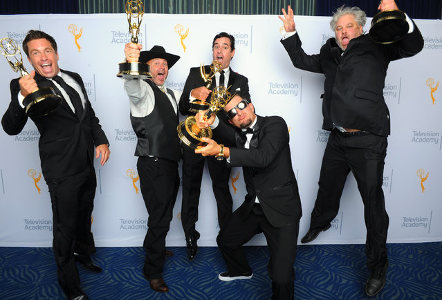 "David Reichert, from left, Todd Stanley, Steven Wright, Breck Warwick, and Matt Fahey, winners of the award for outstanding cinematography for reality programming for ""Deadliest Catch"", pose for a portrait at the Television Academy's Creative Arts Emmy Awards at Microsoft Theater on Saturday, September 12, 2015, in Los Angeles. (Photo by Vince Bucci/Invision for the Television Academy/AP Images)"
