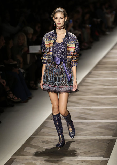 A model wears a creation for Etro women's Spring-Summer 2016 collection, part of the Milan Fashion Week, unveiled in Milan, Italy, Friday, September 25, 2015. (Photo by Antonio Calanni/AP Photo)