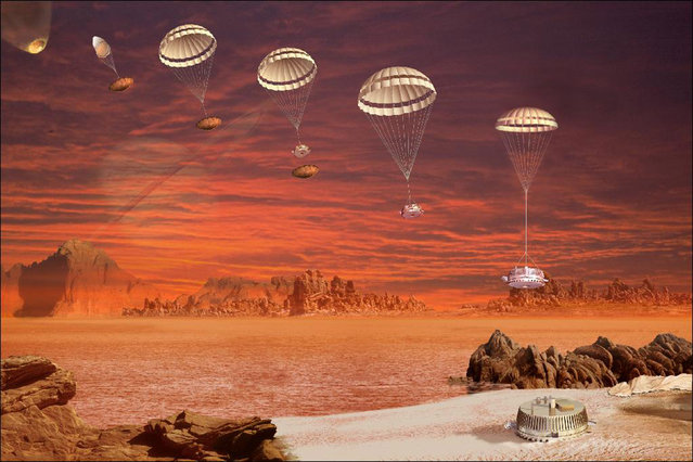The European Space Agency's Huygens probe descent sequence from the Cassini spacecraft to Saturn's moon Titan in January 2005. Scientists reconstructed the chain of events from the landing by analyzing data from a variety of instruments that were active during the impact and found that the spacecraft, bounced, slid and wobbled its way to rest in the 10 seconds after touching down on Titan. (Photo by Reuters/NASA/JPL/ESA)