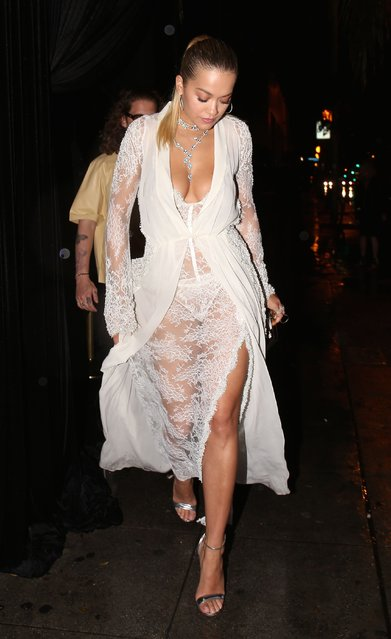 Rita Ora makes a quick exits out of delilah. After attending Lorraine Schwartz party in Los Angeles, California on March 14, 2018. (Photo by Deby/Splash News and Pictures)