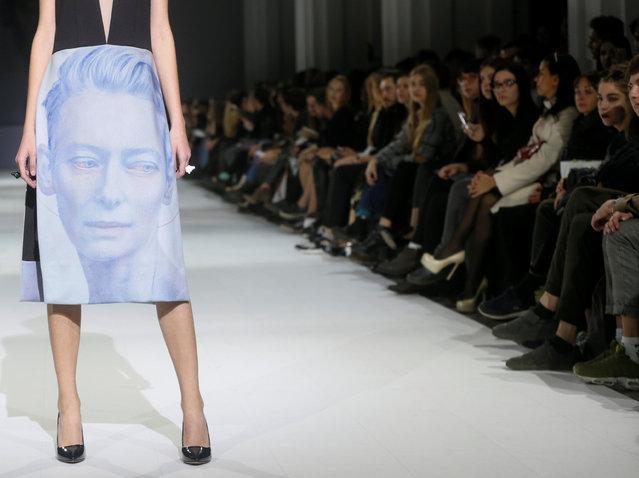 A model presents a creation by Ukrainian designer Maryna Rybalko during Ukrainian Fashion Week in Kiev, Ukraine, October 13, 2016. (Photo by Valentyn Ogirenko/Reuters)