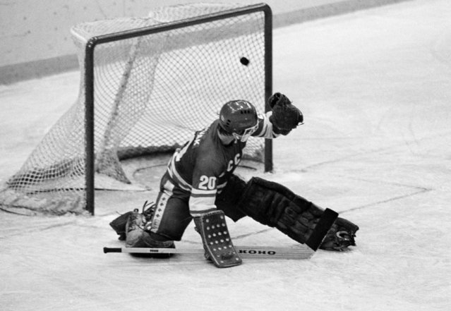 """In this 1980 file photo, Soviet goalie Vladislav Tretiak allows a goal by the U.S. team in the first period of a medal-round hockey game at the 1980 Winter Olympics in Lake Placid, New York. Tretiak said the U.S. hockey team taught the Soviets a """"good lesson"""" about respecting competitors by beating them in the 1980 Olympics. Tretiak, the three-time Olympic gold medalist, gave up two goals in the first period of the """"Miracle on Ice"""" at the 1980 Lake Placid Olympics and then was benched in what is widely regarded as the greatest upset in Olympic history. (Photo by AP Photo)"""