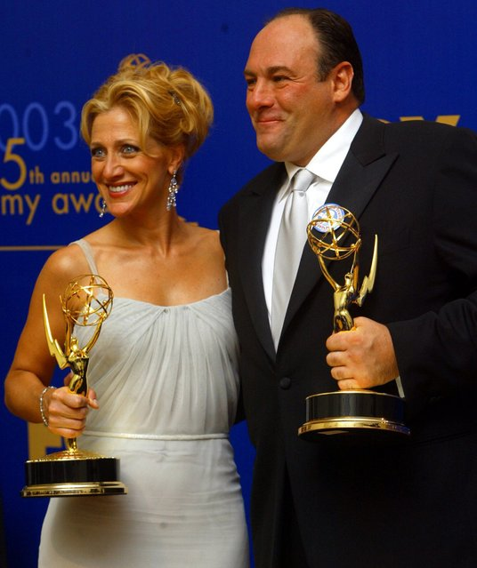 James Gandolfini and Edie Falco backstage at the Emmy Awards show at the Shrine Auditorium on September 21, 2003. (Photo by Lawrence K. Ho/Los Angeles Times/MCT)