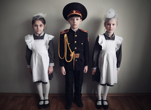 Children at a military boarding school in Kiev. (Photo by Aude Osnowycz/Hans Lucas/The Guardian)