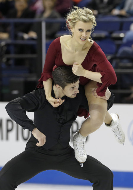 Madison Hubbell, top, and Zachary Donohue perform during their short dance program in the U.S. Figure Skating Championships in Greensboro, N.C., Friday, January 23, 2015. (Photo by Gerry Broome/AP Photo)