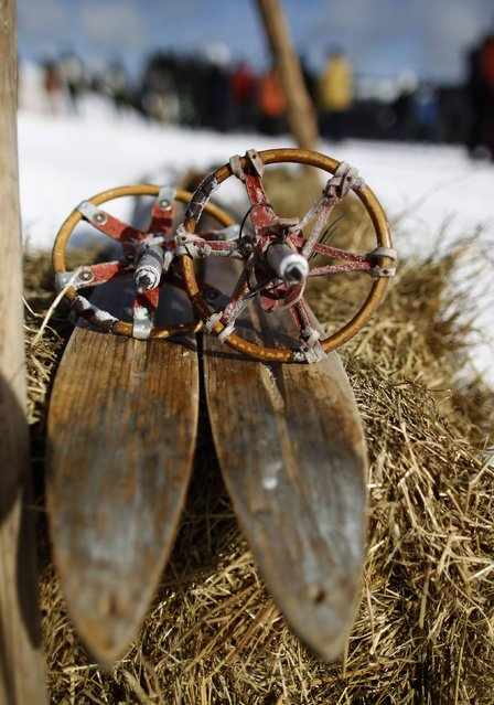 "Vintage skis and poles are seen at the ""Nostalgic Ski Race"" in the western town of Neuastenberg February 8, 2015. (Photo by Ina Fassbender/Reuters)"