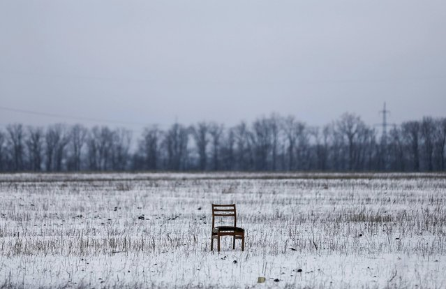 A broken chair is pictured near a checkpoint on the outskirts of Vuhlehirsk, eastern Ukraine February 10, 2015. (Photo by Maxim Shemetov/Reuters)