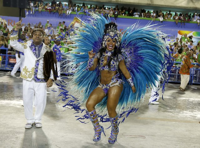 Beija flor samba school drum queen Rayssa Oliveira participate in the annual carnival parade in Rio de Janeiro's Sambadrome, February 17, 2015. (Photo by Pilar Olivares/Reuters)