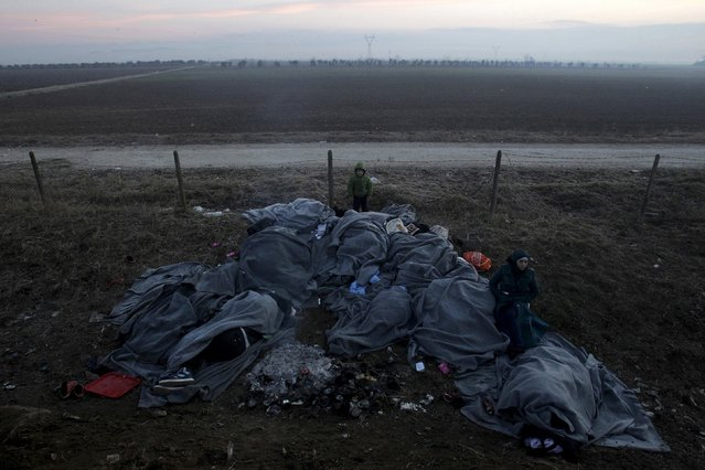 Migrants sleep covered with blankets as they wait to cross the Greek-Macedonian border near the village of Idomeni, Greece, January 28, 2016. (Photo by Alexandros Avramidis/Reuters)