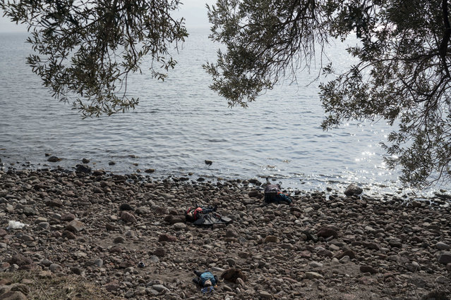 The lifeless bodies of migrants lay on the shoreline near the Aegean town of Ayvacik, Canakkale, Turkey, Saturday, January 30, 2016. (Photo by Halit Onur Sandal/AP Photo)