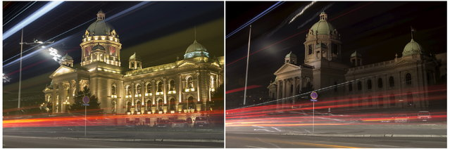 A combination photo shows the Serbian Parliament building before and during the Earth Hour in Belgrade March 28, 2015. (Photo by Marko Djurica/Reuters)