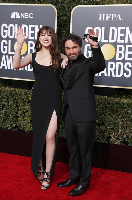Johnny Galecki and Alaina Meyer arrive at the 76th annual Golden Globe Awards at the Beverly Hilton Hotel on Sunday, January 6, 2019, in Beverly Hills, Calif. (Photo by Mike Blake/Reuters)