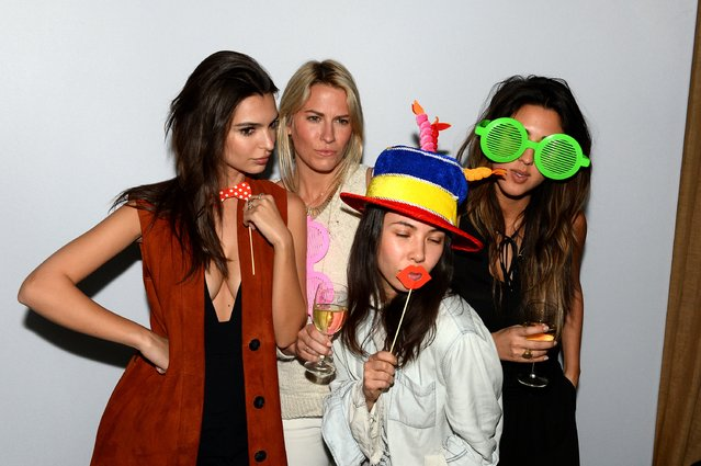 Emily Ratajkowski (L) with guests celebrate fashion week with a showcase for Studio Bryce Thompson at Suzer Groups U.S. Business Partners' Hotel, The NoMo Soho, Sponsored By Dom Perignon at Nomo Soho Hotel on February 18, 2016 in New York City. (Photo by Andrew Toth/Getty Images for Baran Suzer)