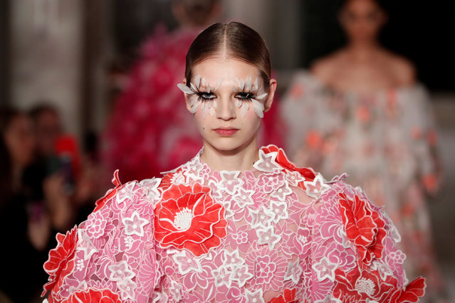 A model presents a creation by Italian designer Pier Paolo Piccioli as part of his Haute Couture Spring-Summer 2019 collection show for fashion house Valentino in Paris, France, January 23, 2019. (Photo by Benoit Tessier/Reuters)