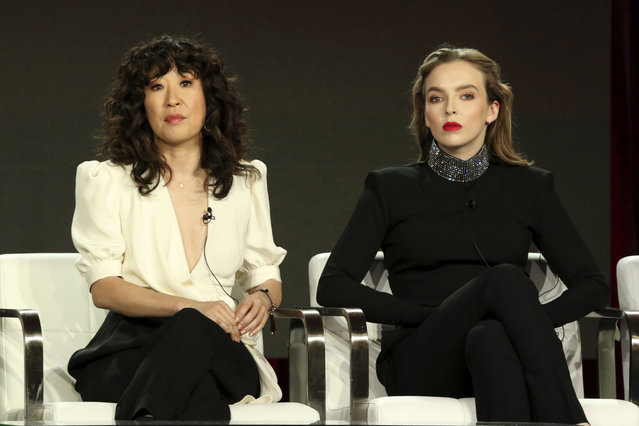 """Sandra Oh, left, and Jodie Comer participate in the """"Killing Eve"""" panel during the BBC America presentation at the Television Critics Association Winter Press Tour at The Langham Huntington on Saturday, February 9, 2019, in Pasadena, Calif. (Photo by Willy Sanjuan/Invision/AP Photo)"""