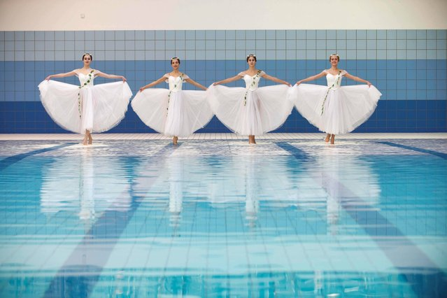 Members of the Perm State Ballet en pointe at the Ocean Fitness Club, Salthill Hotel Galway, on November 7, 2013. (Photo by Andrew Downes/PA Wire)