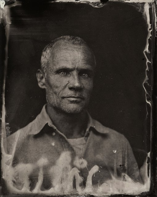 Flea poses for a tintype (wet collodion) portrait at The Collective and Gibson Lounge Powered by CEG, during the 2014 Sundance Film Festival in Park City, Utah. (Photo by Victoria Will/AP Photo/Invision)