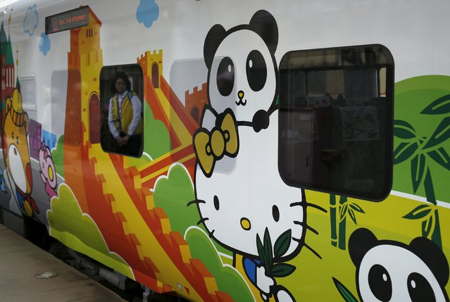 A Hello Kitty-themed Taroko Express train is seen in Taipei, Taiwan March 21, 2016. (Photo by Tyrone Siu/Reuters)