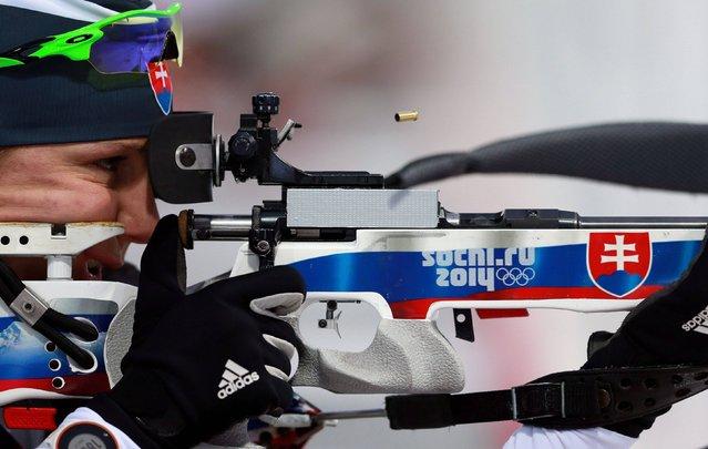 Slovakia's Anastasiya Kuzmina shooting in the Women's 12.5km Mass Start Biathlon during the 2014 Sochi Olympic Games in Sochi, Russia, on February 17, 2014. (Photo by David Davies/PA Wire)