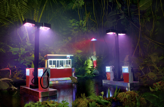 David LaChapelle, Gas Chevron, 2013, chromogenic print, 70 x 109 3/4 inches, 177.8 x 278.8 cm, edition of 3. Image courtesy of the artist and Paul Kasmin Gallery. (Photo by David LaChapelle Studio)