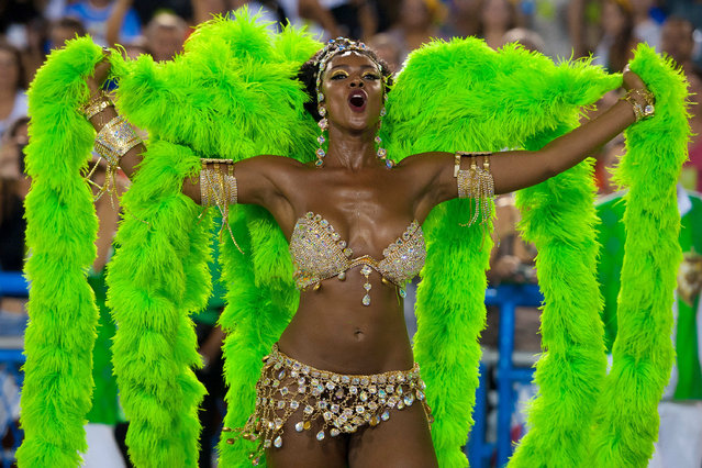 Cris Vianna, Queen of Percussion of Imperatriz Leopoldinense samba school, performs during its parade at 2014 Brazilian Carnival at Sapucai Sambadrome on March 03, 2014 in Rio de Janeiro, Brazil. (Photo by Buda Mendes/Getty Images)