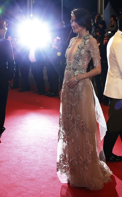 """Cast member Shu Qi poses on the red carpet as she arrives for the screening of the film """"The Assassin"""" (Nie yin niang) in competition at the 68th Cannes Film Festival in Cannes, southern France, May 21, 2015. (Photo by Eric Gaillard/Reuters)"""