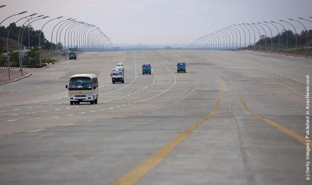 On newly built roads there is very little traffic on the wide 10 lane roads leading to the Parliament complex in Nay Pyi Taw, Myanmar