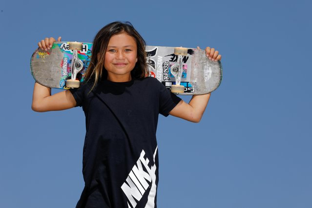 Sky Brown poses for a portrait at a skatepark in Huntington Beach, California, September 20, 2019. Brown, who was born in Japan to a British father and Japanese mother, took a big step towards making Team GB's Olympic squad with a third-place finish at the World Championships in Brazil this month. If she qualifies, Brown will be 12 years and 12 days old when the Games begin in July, eclipsing the record set by swimmer Margery Hinton, who was 13 years and 43 days when she competed at the 1928 Olympics in Amsterdam. (Photo by Mike Blake/Reuters)