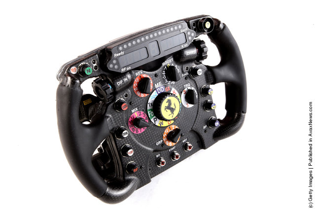 A general view of the Ferrari steering wheel and operating controls as the new Ferrari F2012 Formula one car is launched online