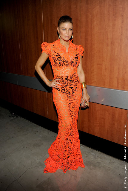 Singer Fergie poses backstage at the 54th Annual GRAMMY Awards held at Staples Center