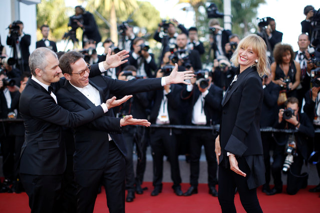 """Karel Och, jury president Uma Thurman and jury members Reda Kateb attend the""""'Based On A True Story"""" screening during the 70th annual Cannes Film Festival at Palais des Festivals on May 27, 2017 in Cannes, France. (Photo by Stephane Mahe/Reuters)"""