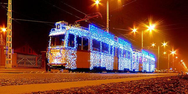 Long Exposure Turn Budapest Trams