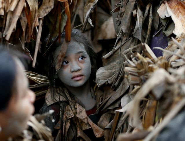 A village girl, donning capes mostly of dried banana leaves and covered in mud, attends a mass in a bizarre annual ritual to venerate their patron saint, John the Baptist, Friday, June 24, 2016 at Bibiclat, Aliaga township, Nueva Ecija province in northern Philippines. (Photo by Bullit Marquez/AP Photo)
