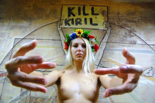 FEMEN-activist Yana Zhdanova topless