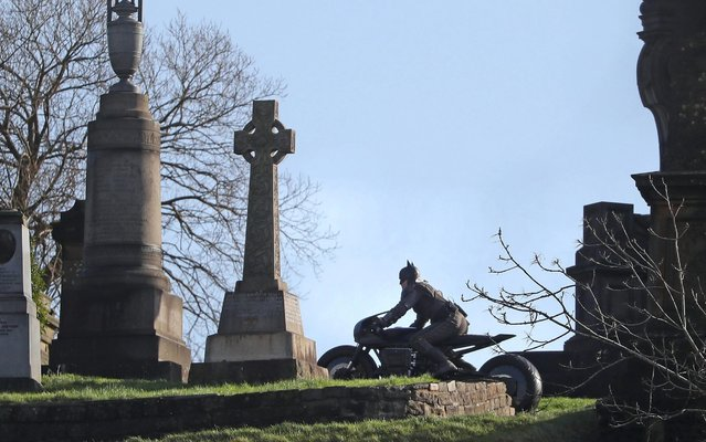 A man dressed as Batman during filming at the Glasgow Necropolis cemetery in England on February 22, 2020 for a new movie for the surperhero franchise. (Photo by Andrew Milligan/PA Images via Getty Images)