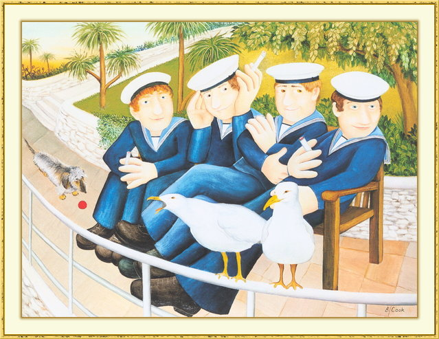 Sailors and Seagulls. Artwork by Beryl Cook