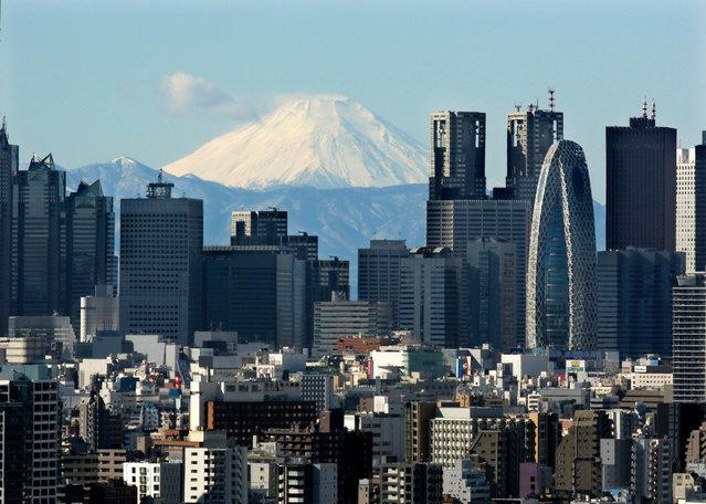 Snow-covered peak of Mount Fuji is seen through Shinjuku skyscrapers in Tokyo, Japan, 20 January 2016. (Photo by Kimimasa Mayama/EPA)