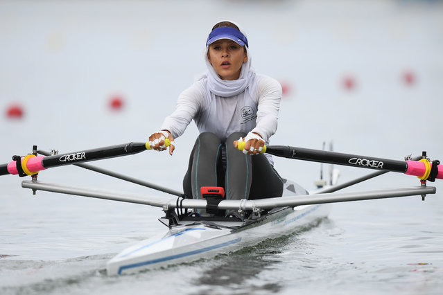 Mahsa Javar of the Islamic Republic of Iran competes in the Women's Single Sculls Repechage 1 on Day 3 of the Rio 2016 Olympic Games at the Lagoa Stadium on August 8, 2016 in Rio de Janeiro, Brazil. (Photo by Matthias Hangst/Getty Images)