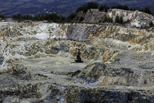 A general view of an old quarry is seen near Rosia Montana, central Romania, March 24, 2014. (Photo by Bogdan Cristel/Reuters)