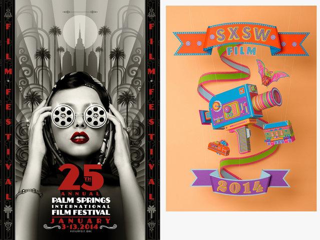 These two entries in the Festival One-Sheet category were created for the Palm Springs International Film Festival (IGNITION) and the SXSW Film Festival (Gravillis Inc.). (Photo by Key Art Awards 2014)