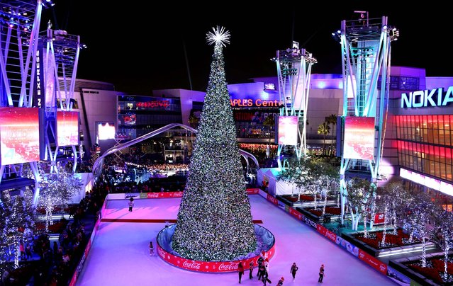The Holiday Tree is seen at the 5th annual Holiday Tree Lighting at L.A. Live and opening of LA Kings Holiday Ice. (Photo by Matt Sayles/Invision for AEG)
