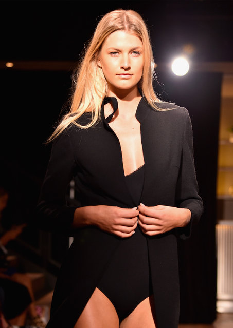 A model walks the runway at Olivine Gabbro Presentation during New York Fashion Week: The Shows September 2016 at Samsung 837 on September 9, 2016 in New York City. (Photo by Albert Urso/Getty Images for New York Fashion Week: The Shows)