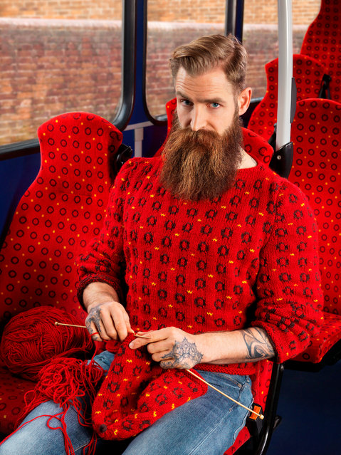 Nina loves buses and knitting so they decided to shoot a picture of a man knitting on a bus where the knitwear camouflages into the bus seat. (Photo by Joseph Ford/South West News Service)