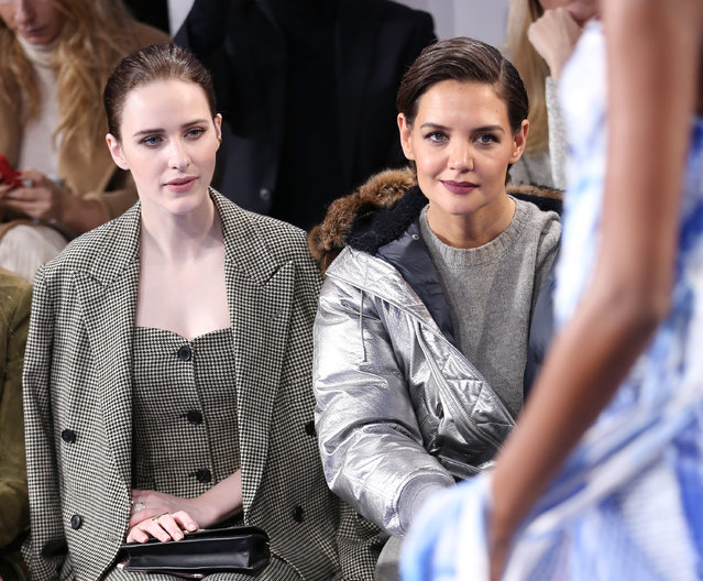 Actors Rachel Brosnahan (L) and Katie Holmes attend the Ralph Lauren fashion show during New York Fashion Week: The Shows on February 12, 2018 in New York City. (Photo by Monica Schipper/Getty Images for New York Fashion Week: The Shows)