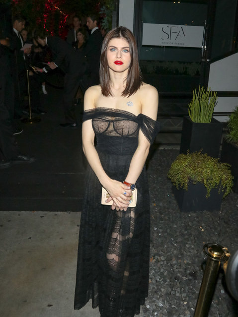 Alexandra Daddario seen outside Poppy Nightclub in West Hollywood, Los Angeles on March 14, 2018. (Photo by Bauer Griffin LLC/Splash News and Pictures)