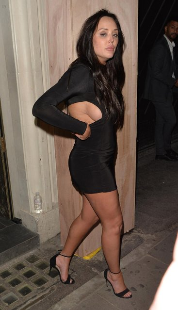 The UK reality star Charlotte Crosby leaving Lucky Voice karaoke club on March 28, 2018 in London, England. (Photo by Barcroft Media)