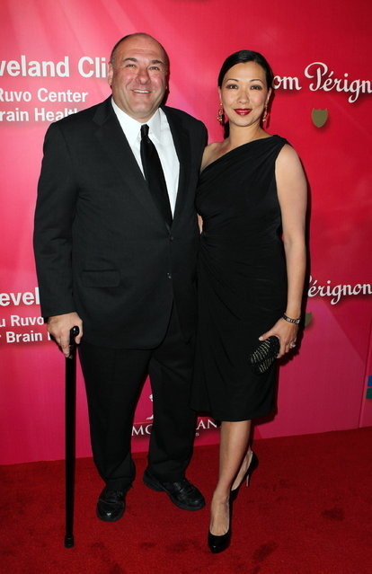 "From left, Actor James Gandolfini arrives with his wife Deborah Lin at the Keep Memory Alive 16th Annual ""Power of Love Gala"" honoring Muhammad Ali with his 70th birthday celebration on Saturday, February 18, 2012, in Las Vegas. (Photo by Jeff Bottari/AP Photo)"