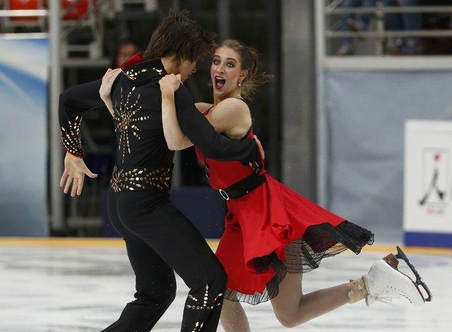 Figure Skating, ISU Grand Prix Rostelecom Cup 2016/2017, Ice Dance Free Dance, Moscow, Russia on November 4, 2016. Elliana Pogrebinsky and Alex Benoit of the U.S. compete. (Photo by Grigory Dukor/Reuters)
