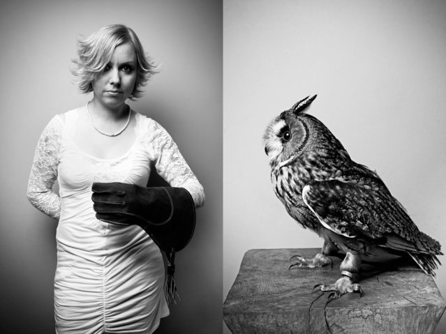 "Pet owner Inga with 1-year-old long-eared owl, ""Waldemar"". (Photo by Tobias Lang)"